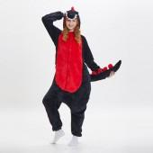 Кигуруми динозавр черный с красной грудкой